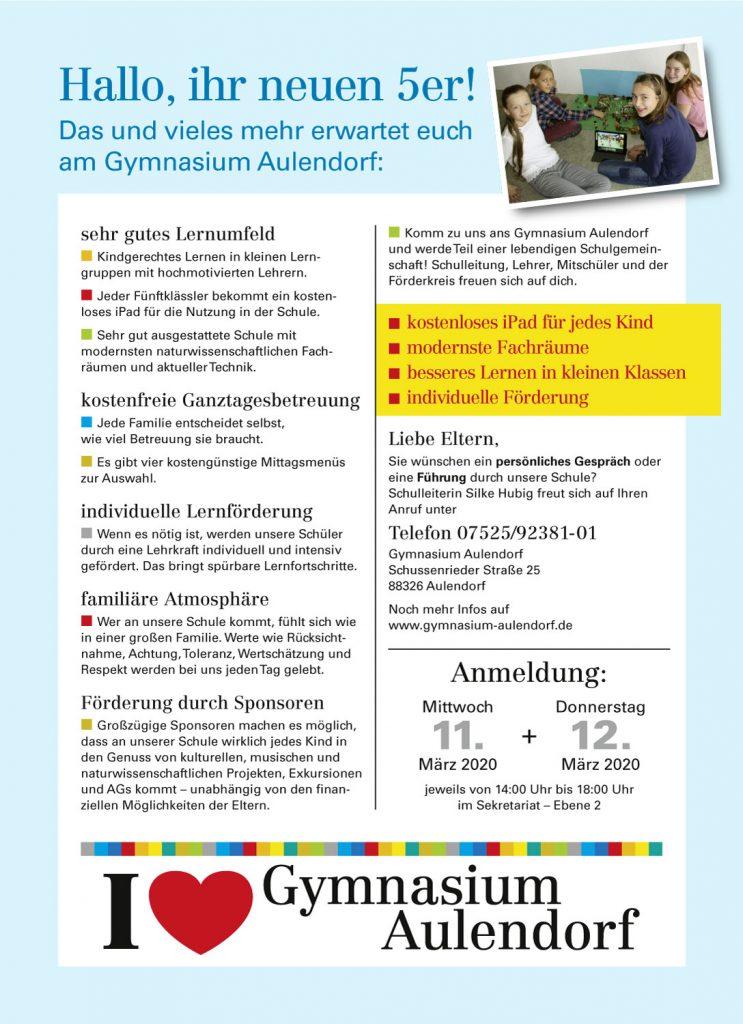 Flyer zur Schulanmeldung am Gymnasium Aulendorf am 11. und 12. März 2020